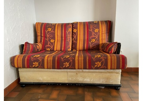Canapé cuir et bois années 80