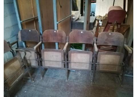 lot de 2 bancs de siège de cinéma anciens