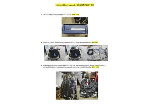 vends matériel divers, pieds, ponts lumières câbles électrique, gradins, etc.