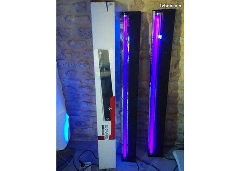2 lumieres noires tube neon 120 cm 40w + reglette